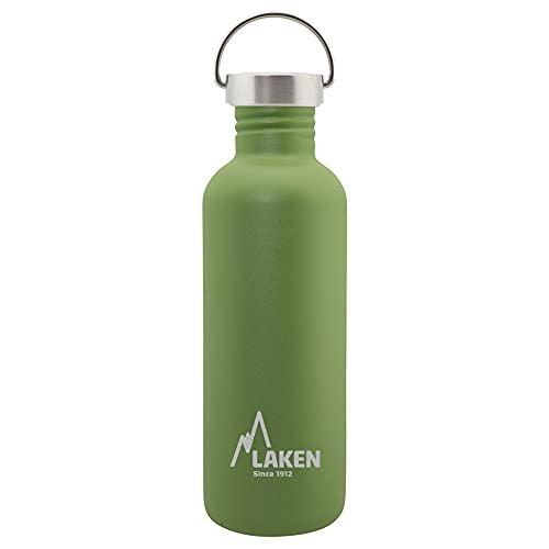 Laken Basic Botella de Acero Inoxidable con Tapón de Rosca Acero y Boca Ancha 1L, Verde Oliva