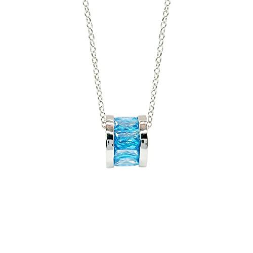 Easenhub anillo creativo gema azul s925 plata enlace de clavícula giratorio Passepartout collar con colgante de diamantes joyería para mujeres niñas