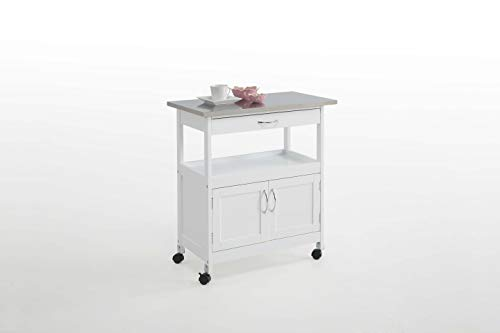 Kit Closet Carro de Cocina con 2 Puertas y un cajón, Blanco/Metal, Unico
