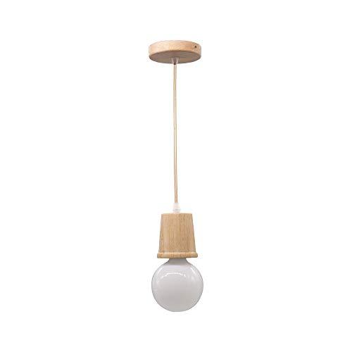 Creativo Simple de madera E27 Titular Lámparas colgantes de techo Alambre colgante ajustable Luz interior Hotel Isla Comedor decoración Luminaria Luz blanca