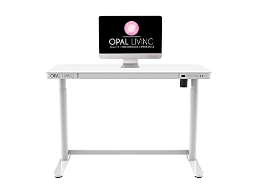 Glass Electric Standing Desk, Home Office Electric Height Adjustable Sit-Stand Desk, USB/USB C, Smart Desk With Tempered Glass Table Top (White)