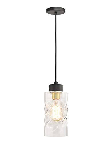 Pendant Light Fixtures, Mini Pendant Lighting with Clear Twisted Glass, Adjustable Ceiling Hanging Lights, Perfect Kitchen Light Fixtures in Matte Black