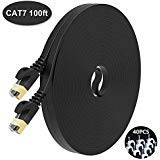 NIAFEYA Cat7 Ethernet Cable - 25ft Flat (SPT) Network Cable, 10 Gigabit 1000MHz Ethernet Patch Cable with 10 Clips,Gold Shielded RJ45 Connectors for Switch, Router, Xbox One, Modem, Printer,ADSL