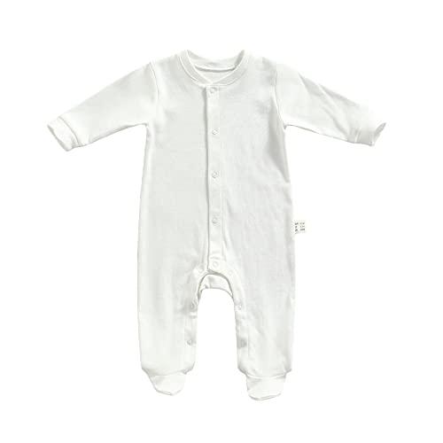 NQ Mameluco con patas para recién nacido, con manoplas, de algodón, para niños, blanco, 9 mes