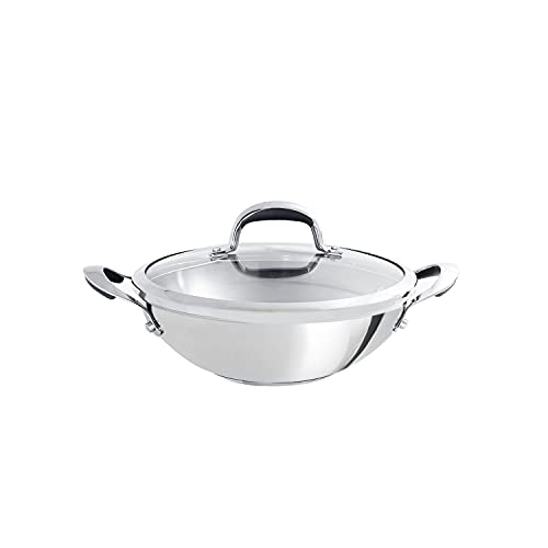 Meyer Select Stainless Steel Covered Kadai, 1.91 Liters/22 cm,...