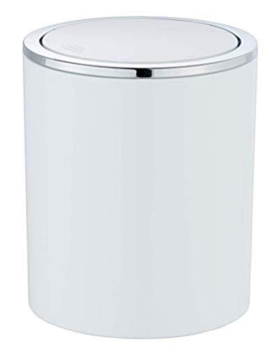 WENKO Poubelle à couvercle oscillant Inca blanc - Poubelle avec couvercle oscillant Capacité: 2 l, Plastique (ABS), 14 x 16.8 x 14 cm, Blanc