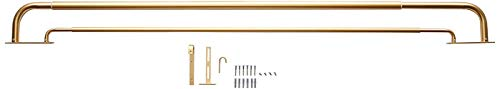 MERIVILLE Double Wraparound Blackout Curtain Rod Set - 1-inch Diameter Front Rod and 5/8-inch Diameter Back Rod, 48-84 Inch Adjustable, Royal Gold Finish