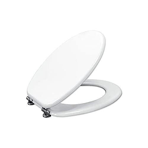 Copriwater Universale Tavoletta Copri WC in Legno MDF Bianco Coperchio Sedile Water Per Bagno