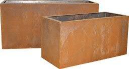 Großer & Hochwertiger Pflanzkasten im 2er Set - Pflanzgefäß: Kasten in Rostoptik - Metall / Rost / Edelrost - Wetterfest & UV-Beständig - Metallkasten / Gartenkasten / Garten