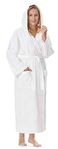 Arus Bademantel-Astra, für Damen und Herren mit Kapuze, wadenlang, Größe: XXL, Farbe: Weiß
