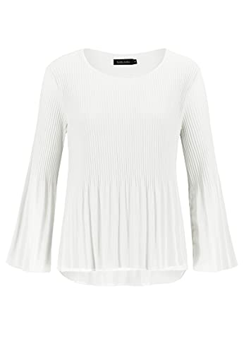 Sublevel Damen Plissee Bluse Langarm Falten Tunika White L