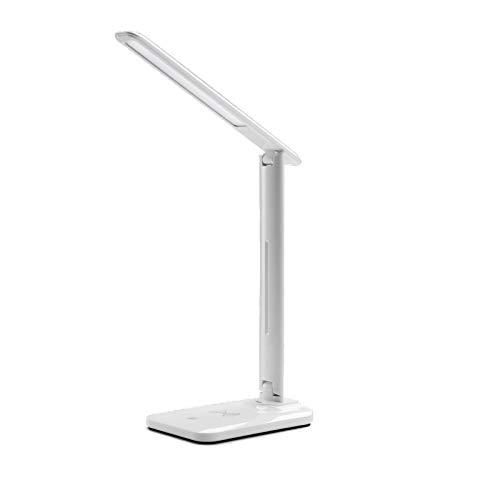 Vortex Lámpara de escritorio LED, lámparas de mesa de cuidado visual, paso menos regulable, lámpara de oficina o estudio con puerto de carga USB, control táctil, potencia de salida inalámbrica de 10 W