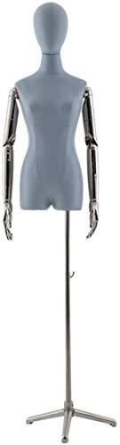 ZSY Maniquíes de Costura Código de Vestimenta Corporal de PU Torso con Recubrimiento de Plata y trípode para Ropa de Vestir de Ropa (Color : Blue)