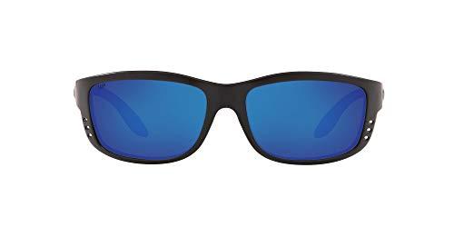 Costa Del Mar Men's Zane Sunglasses, Matte Black/Grey Blue Mirrored Polarized-580P, 61 mm