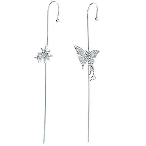 Pendientes de mariposa asimétricos con diseño de mariposa, 2 unidades
