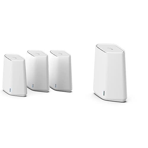 Netgear Orbi Pro Mini Mesh WiFi 6 SXK30B3 Router WiFi Mesh con 2 Extensores satélite y Netgear Orbi Pro Mini Satélite Adicional Mesh WiFi 6 SXS30, Compatible con el Sistema SXK30 o el Router SXR30