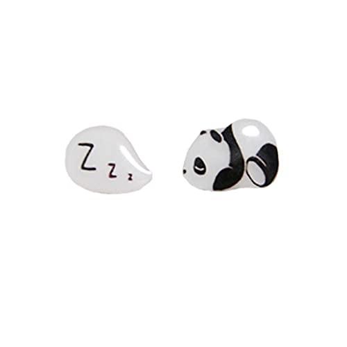 sis-woner Original Hecho a Mano Lindo Panda durmiendo s925 uñas de Hongos Blancos Divertidos y Frescos Clips de Oreja hipoalergénicos no Perforados para niños-Q_C