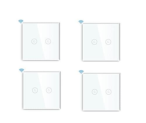 LIZONGFQ Zhang Asia MVAVA UE Touch Switch WiFi 2 Gang 1/2/3 Way Smart Switch LED Botones LED Panel de Vidrio Interruptor Inteligente Trabajo con Tuya Google Home