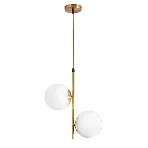 HJXDtech Lámpara colgante de bola de cristal LED de 2 luces, moderna...