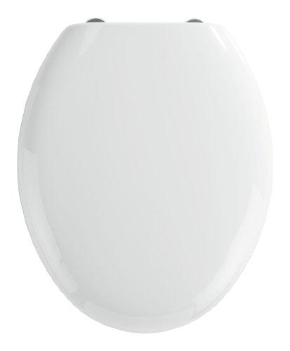 WENKO WC-Sitz Mira, Toilettensitz mit Absenkautomatik, WC-Deckel mit Fix-Clip Hygiene-Befestigung, Thermoplast, Weiß
