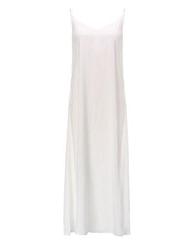 ZANZEA Mujeres Cuello V Sin Mangas Casual Elegante Punto Vestido Suelto Largo Playa Verano Blanco EU 38