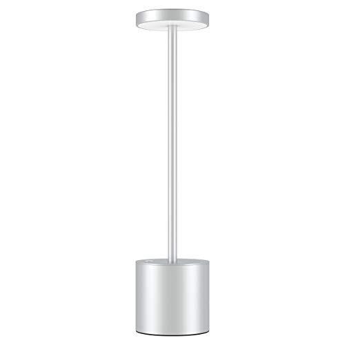 Lampada da Scrivania Senza Fili Ricaricabile USB,LED Dimmerabile Eye-Protect Lampada da Tavolo,2 modalità di Illuminazione,Scocca in Metallico,per Sala da Pranzo,Camera da Letto,Terrazza (Argento)