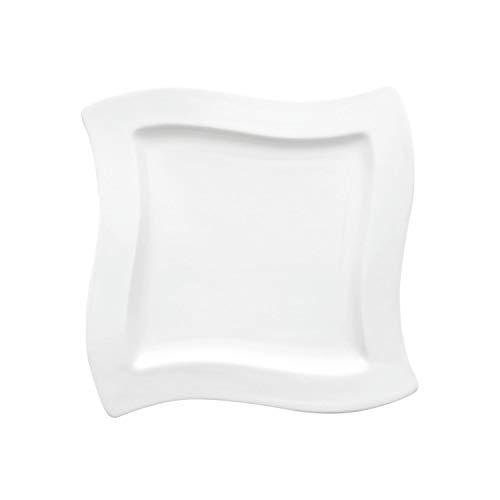 Villeroy & Boch NewWave Assiette petit-déjeuner carrée, 24 x 24 cm, Porcelaine Premium, Blanc