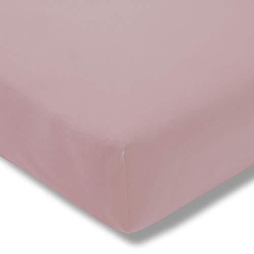 ESTELLA Spannbetttuch Zwirnjersey | Rosa | 150x200 cm | passend für Matratzen 140-160 cm (Breite) x 200-220 cm (Länge) | trocknerfest und bügelfrei | 100% Baumwolle | 97% Baumwolle 3% Elastan