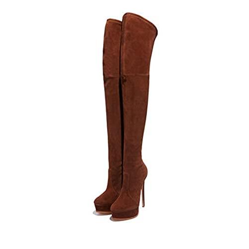 Botas de mujer sobre la rodilla, 14cm Botas altas hasta el muslo de tacón de aguja puntiagudo con manga de plataforma impermeable de gamuza elegante, Botas de caballero,Red wine,41 EU