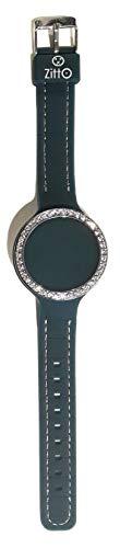 Zitto Diva Edition Montre pour femme avec mini LED Touch en silicone imperméable 36 mm + boîte à paillettes argentée + porte-clés