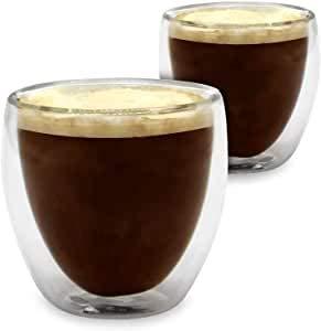 UMIGAL Doppelwandige Gläser Borosilikatglas - Kaffee Gläser Kaffee Gläserset/Tee Doppelwandiges Perfekte Größe für Espresso(C- 2 Gläser 80ML)