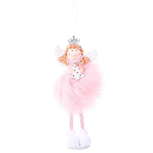 ZHOUSAN Colgante de ángel de Navidad lindo muñeco de peluche adorno de árbol de Navidad para decoración del hogar fiesta decoración de Navidad niños regalo accesorio