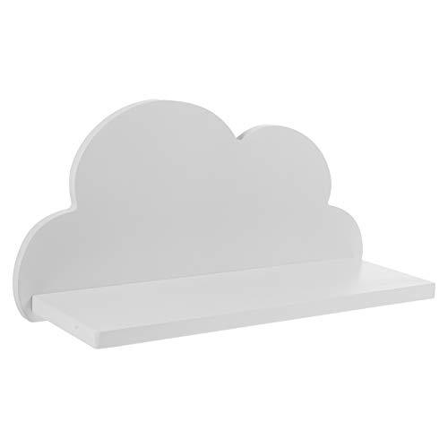 GARNECK Extremos de Libros Tablero de Almacenamiento en La Pared Estante Deflector con Forma de Nube de Madera sin Perforaciones Estante Flotante para El Hogar (Blanco)