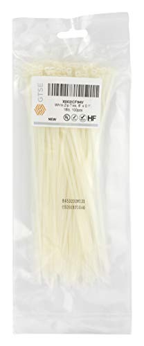 """GTSE 8"""" White/Clear Zip Ties, 100 Pack, 18lb Strength, UV Resistant Strong Nylon Cable Ties, Self-Locking 8 Inch Tie Wraps Kansas"""