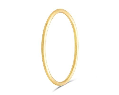 fajno | Goldring Damen 750er Gold, matt | Damen Ring, Goldschmuck, 18k Gold | Handmade Ringe | Stapelring dünn, Bandring | Geschenk für Sie