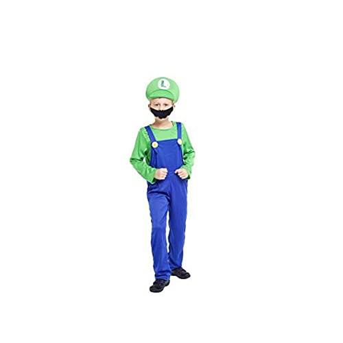 Disfraz DealMux, cosplay, Halloween, fiesta, disfraz para adultos y niños, para regalos, atuendos (Color: Kid Luigi, Talla: L)