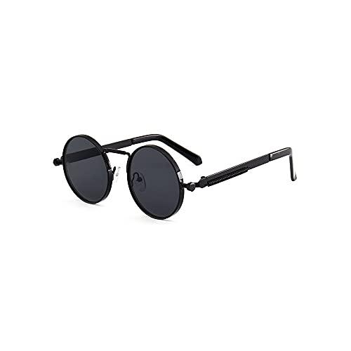 Dabeigouztaiyj Gafas De Sol, Gafas de Sol Redondas para Hombres Círculo de Gran tamaño Gafas de Sol Gafas de Sol Sombras de Marco de Primavera (Color : Black)