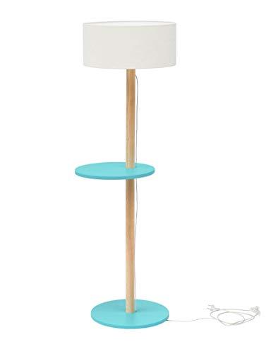 UFO Madera pie con estantería, estilo escandinavo moderno para el salón dormitorio comedor, altura 150cm, E27, máximo 40W–Turquesa Oscuro con color blanco lámpara pantalla