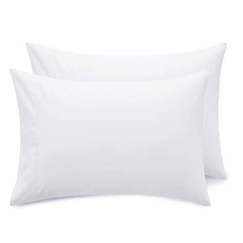 Bedsure Federe Cuscino Letto Matrimoniale - Federe Cuscino Bianco 50x80 cm con Chiusa, Set di 2 Pezzi con Chiusura a Busta,Federe in Microfibra