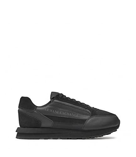 Sneaker da uomo in pelle scamosciata con logo in nylon, nero, 45 EU
