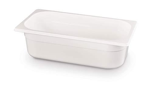 HENDI Gastronormbehälter, Temperaturbeständig von -40° bis 110°C, Skalierung, Geruchs- und geschmackneutral, 5,7L, Polycarbonat, GN 1/3, 325x176x(H)150mm, Weiß