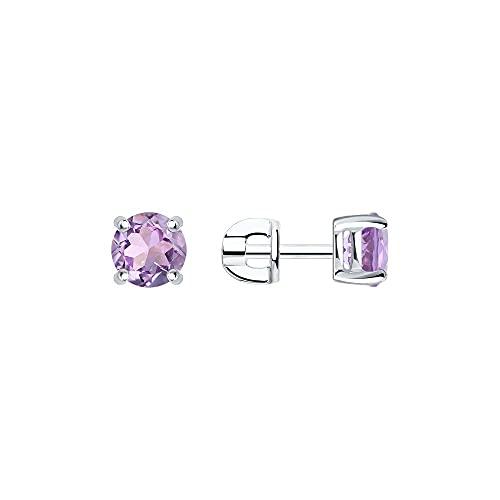 Mirkada - Pendientes de plata con amatista, color morado