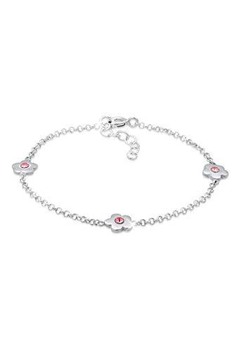 Elli Pulseras para Niños con Flores de color Rosa con Cristales en Plata de Ley 925