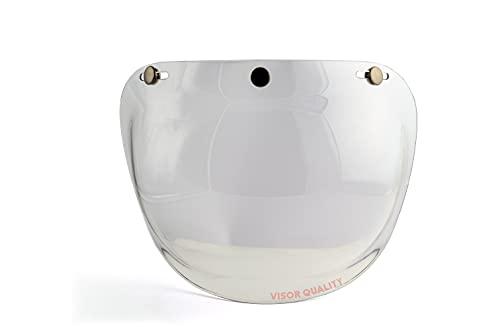 Global Trade Visiera Casco Moto a Bolla 3 Bottoni - Visiera Vintage Universale 3 Bottoni di Aggancio - Visiera Moto Bubble Retrò (Trasparente)
