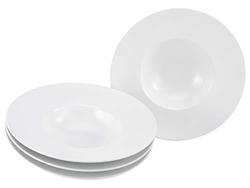 CreaTable, 23097, Serie ROMA GOURMET-mat glazuur, servieset, pasta plaat 4 stuks, wit 27 cm, Steengoed