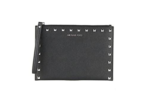 Michael Kors XL Zip Clutch Smooth Leather Signature Logo Checker Wristlet - Black Taxi Yellow Multi