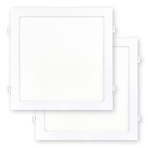 POPP- Pack 2 Downlight LED Techo Cuadrado 24W, Luz Frio 6000k, Placa Plafón Empotrable Extraplano Blanco, chip OSRAM, Incluye Transformador(6000K, 24W)