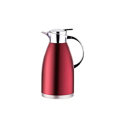 Hermosa Termal Coffee CABEA Carafe Vacío, Acero Inoxidable Contenedor Interior Aislamiento de vacío Coffee Bote Aislamiento Cafetera/Leche/Pot de Aislamiento de té (Color: Rojo, Tamaño: 2.3L)