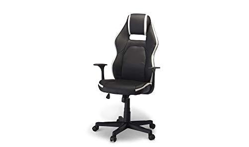 PKline Bürostuhl Spike Gamer Stuhl schwarz + Weiss Schreibtisch Drehstuhl Chef Sessel