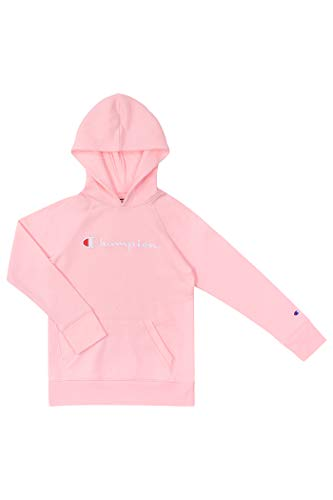 Champion Girls Hooded Sweatshirt Script Logo Heritage Collection Big and Little Girls (Large, Pink Candy)